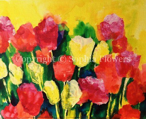 "'Tulips Galore' 23""x20"" - £155"